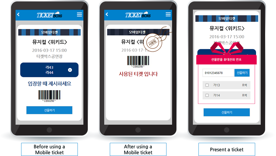 Before using a Mobile ticket / After using a Mobile ticket / Present a ticket